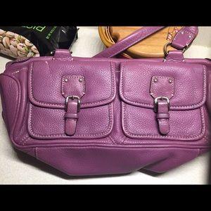 Fossil, leather purple pleaser purse!!